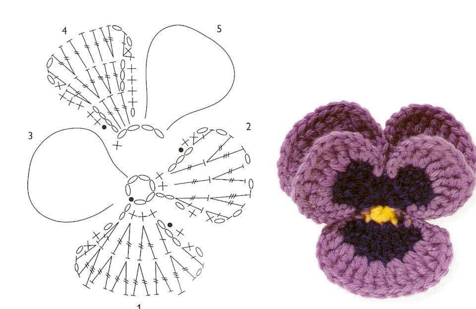 Схема вязание крючком анютины глазки