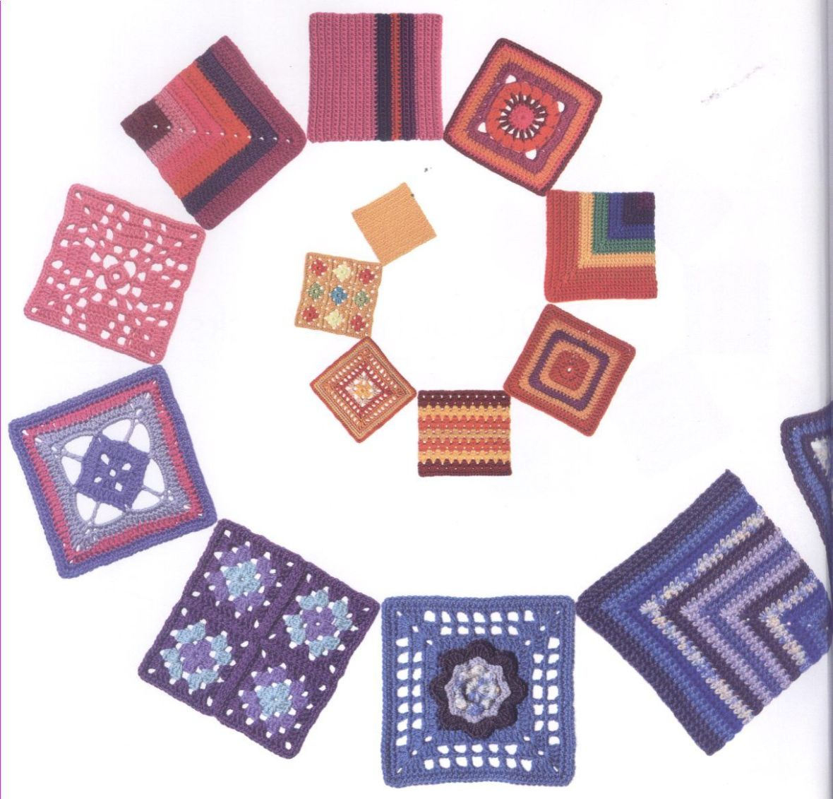 200 Crocheted Blocks for blankets, throws & Afghans 002