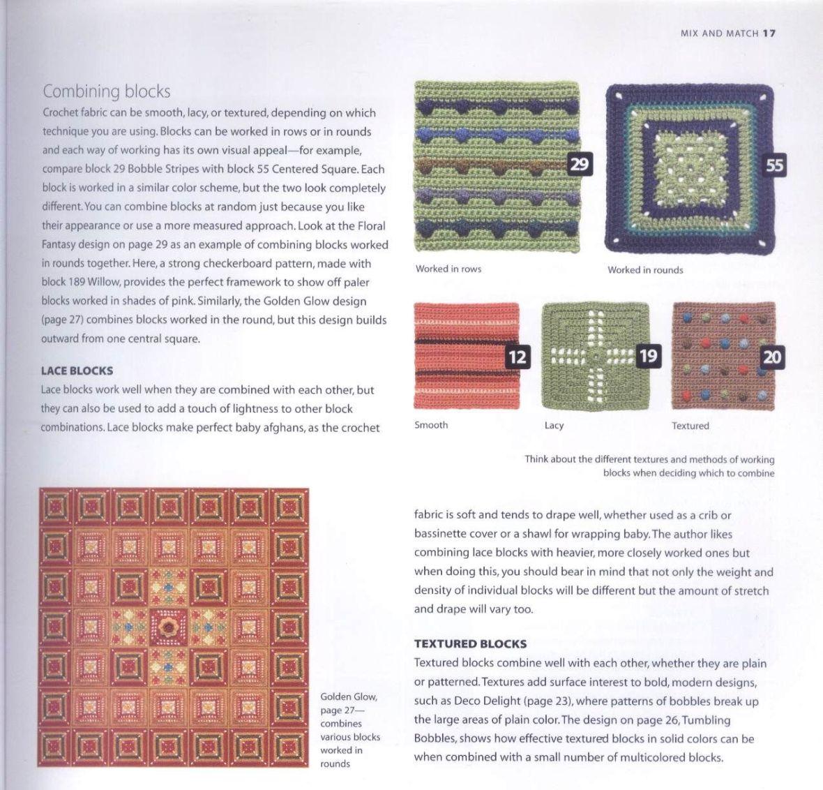 200 Crocheted Blocks for blankets, throws & Afghans 017