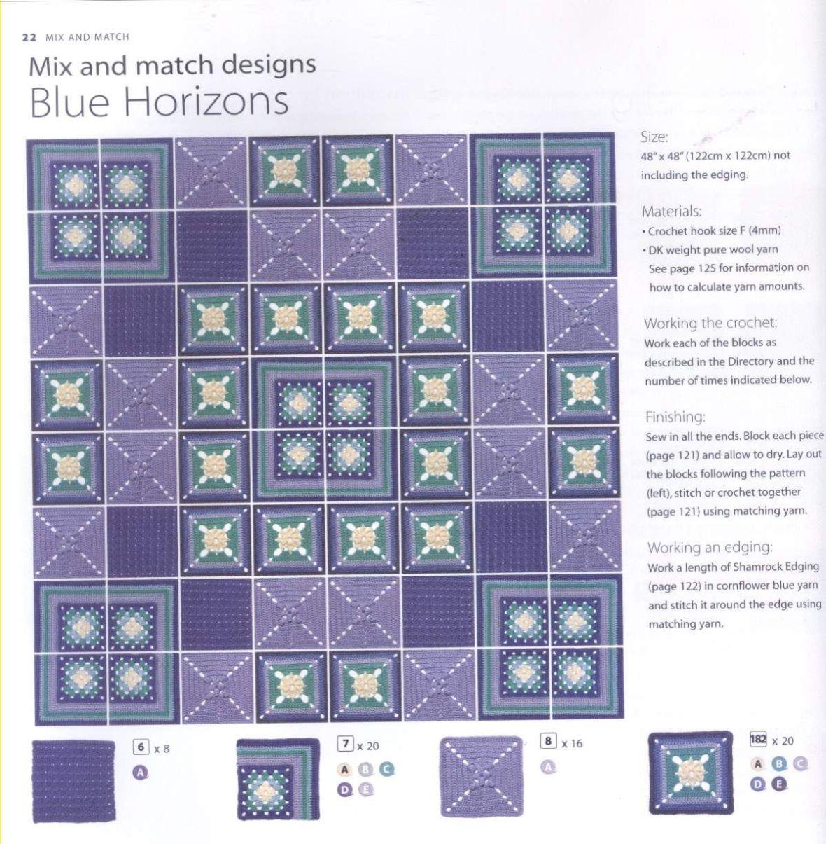 200 Crocheted Blocks for blankets, throws & Afghans 022