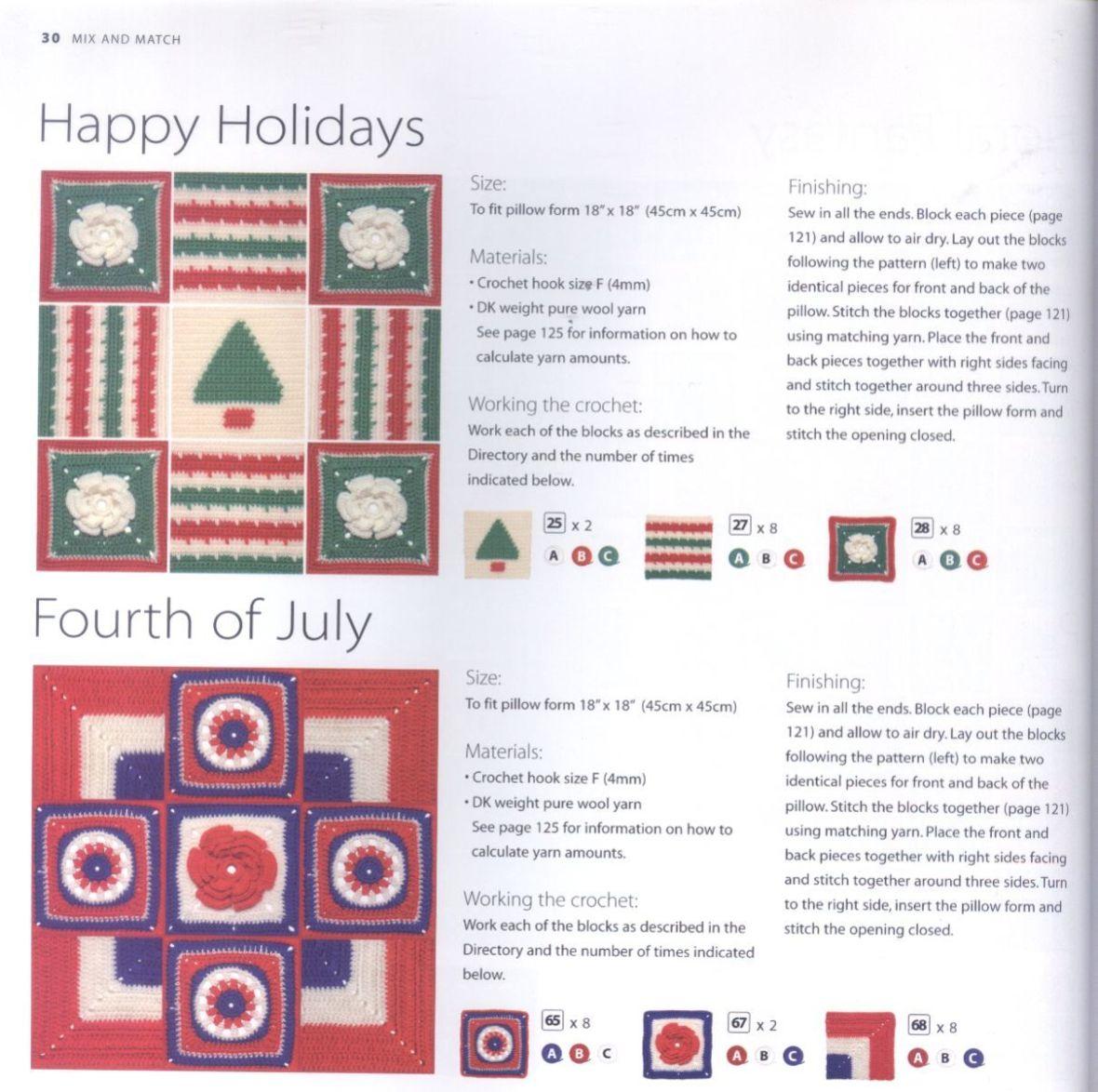200 Crocheted Blocks for blankets, throws & Afghans 030