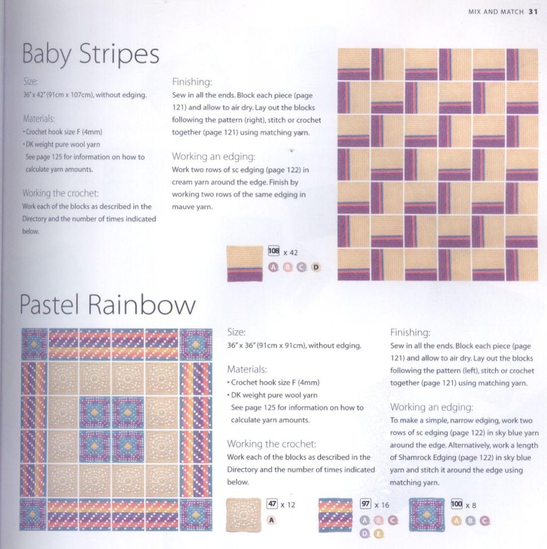 200 Crocheted Blocks for blankets, throws & Afghans 031