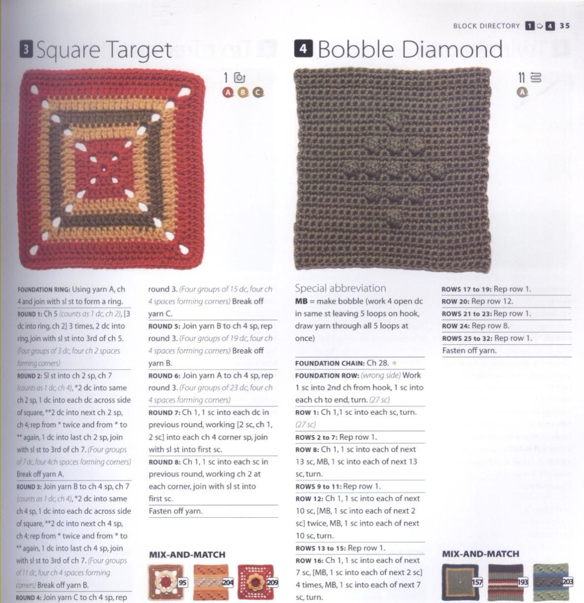 200 Crocheted Blocks for blankets, throws & Afghans 035