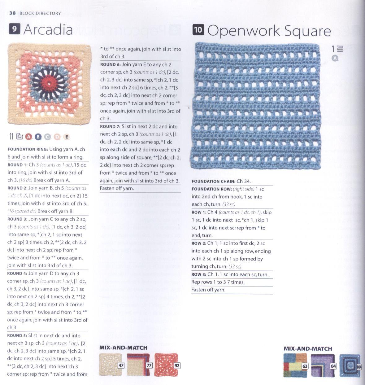 200 Crocheted Blocks for blankets, throws & Afghans 038