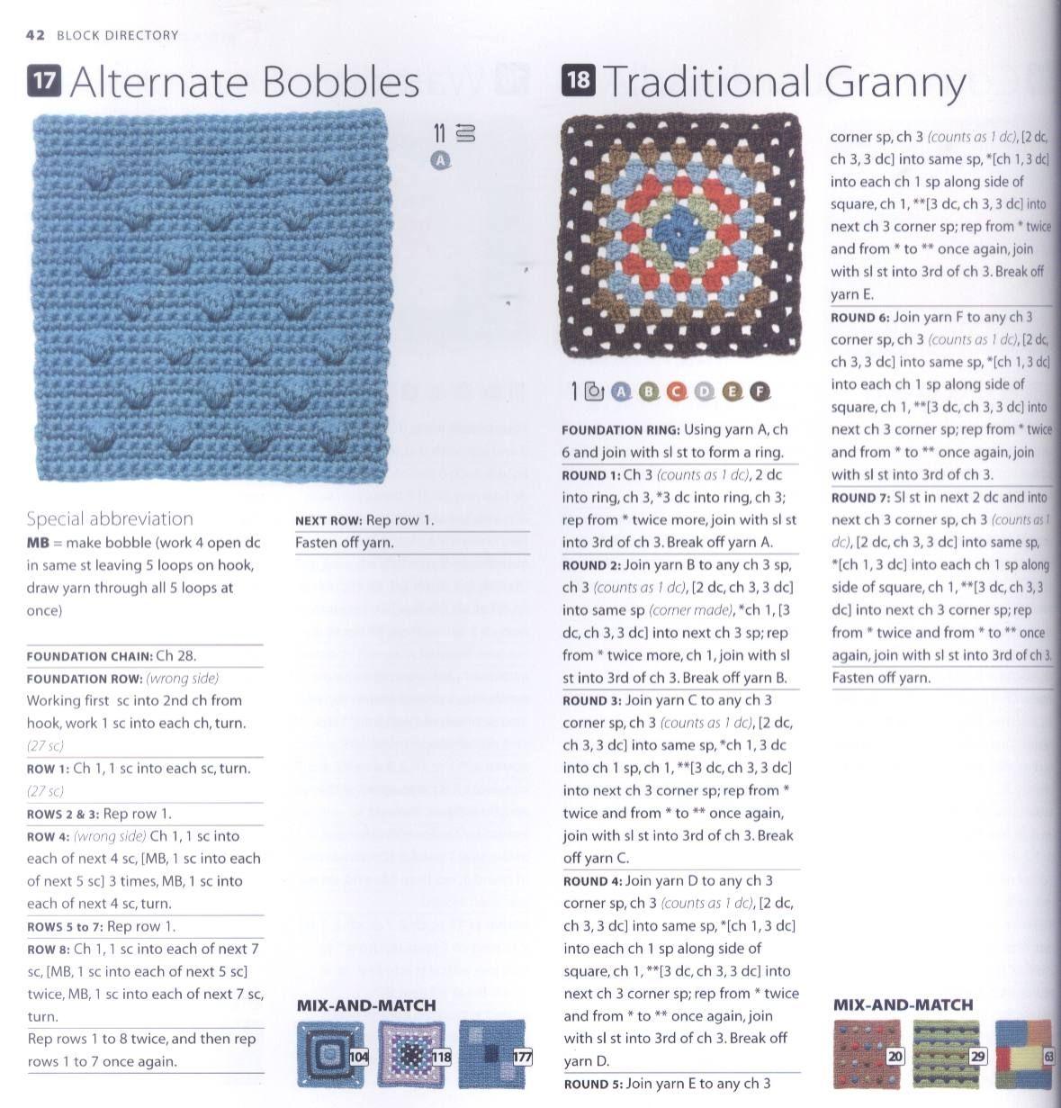200 Crocheted Blocks for blankets, throws & Afghans 042