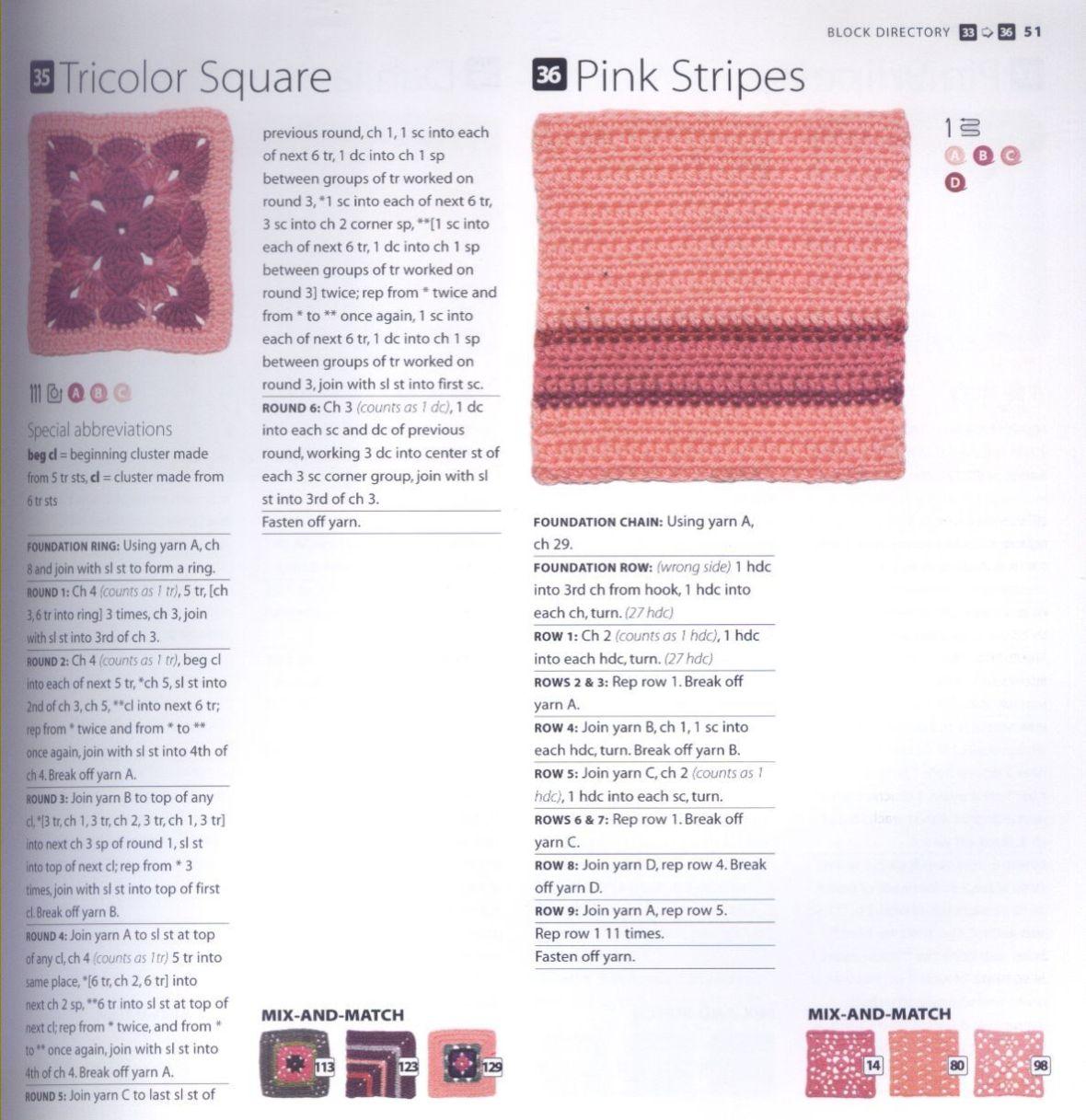 200 Crocheted Blocks for blankets, throws & Afghans 051
