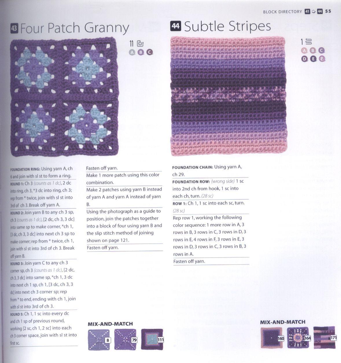 200 Crocheted Blocks for blankets, throws & Afghans 055
