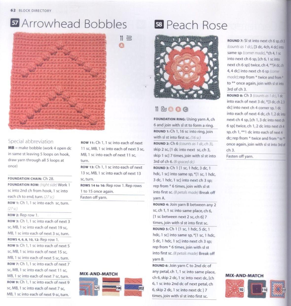 200 Crocheted Blocks for blankets, throws & Afghans 062