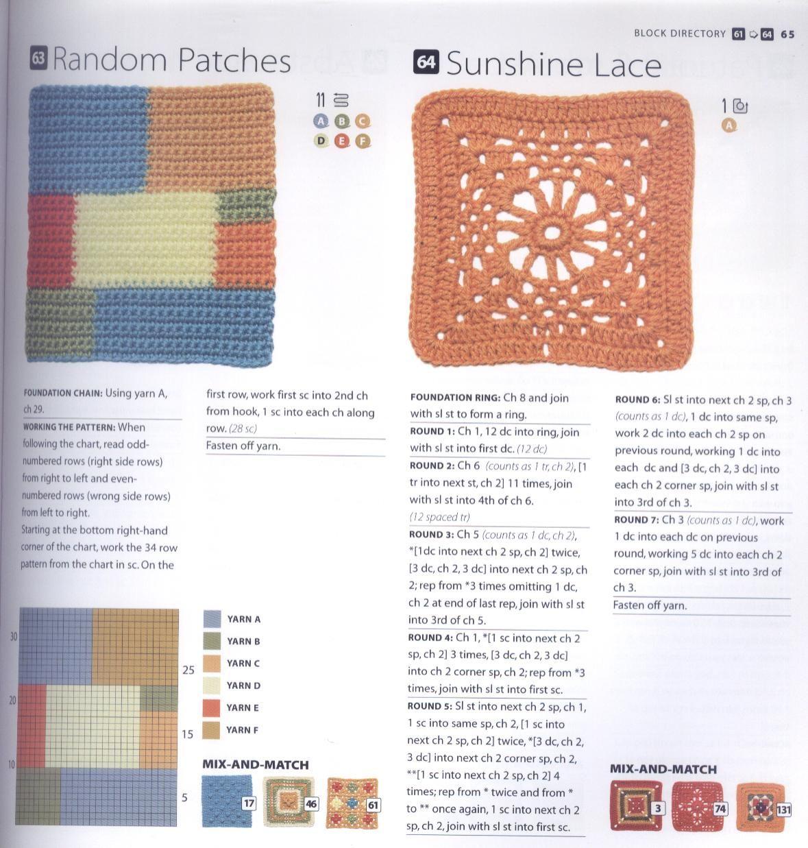 200 Crocheted Blocks for blankets, throws & Afghans 065
