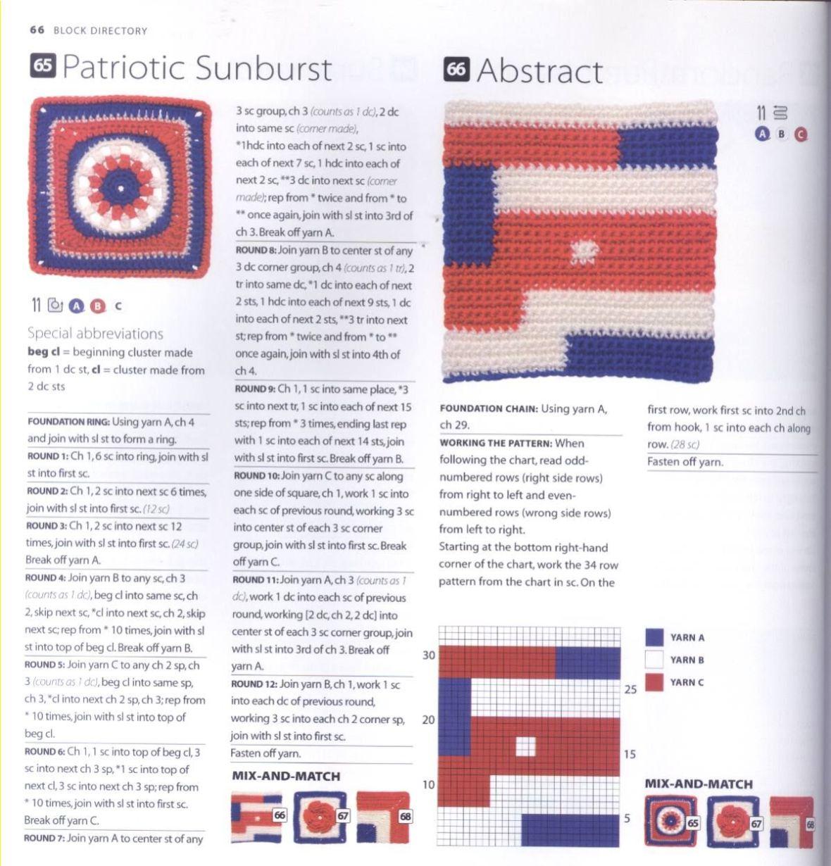 200 Crocheted Blocks for blankets, throws & Afghans 066