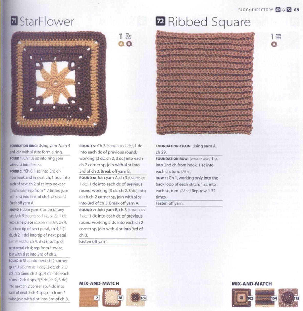 200 Crocheted Blocks for blankets, throws & Afghans 069