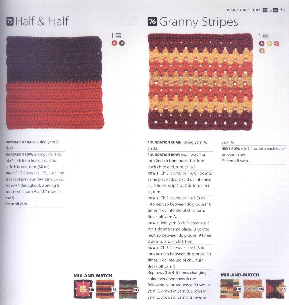 200 Crocheted Blocks for blankets, throws & Afghans 071