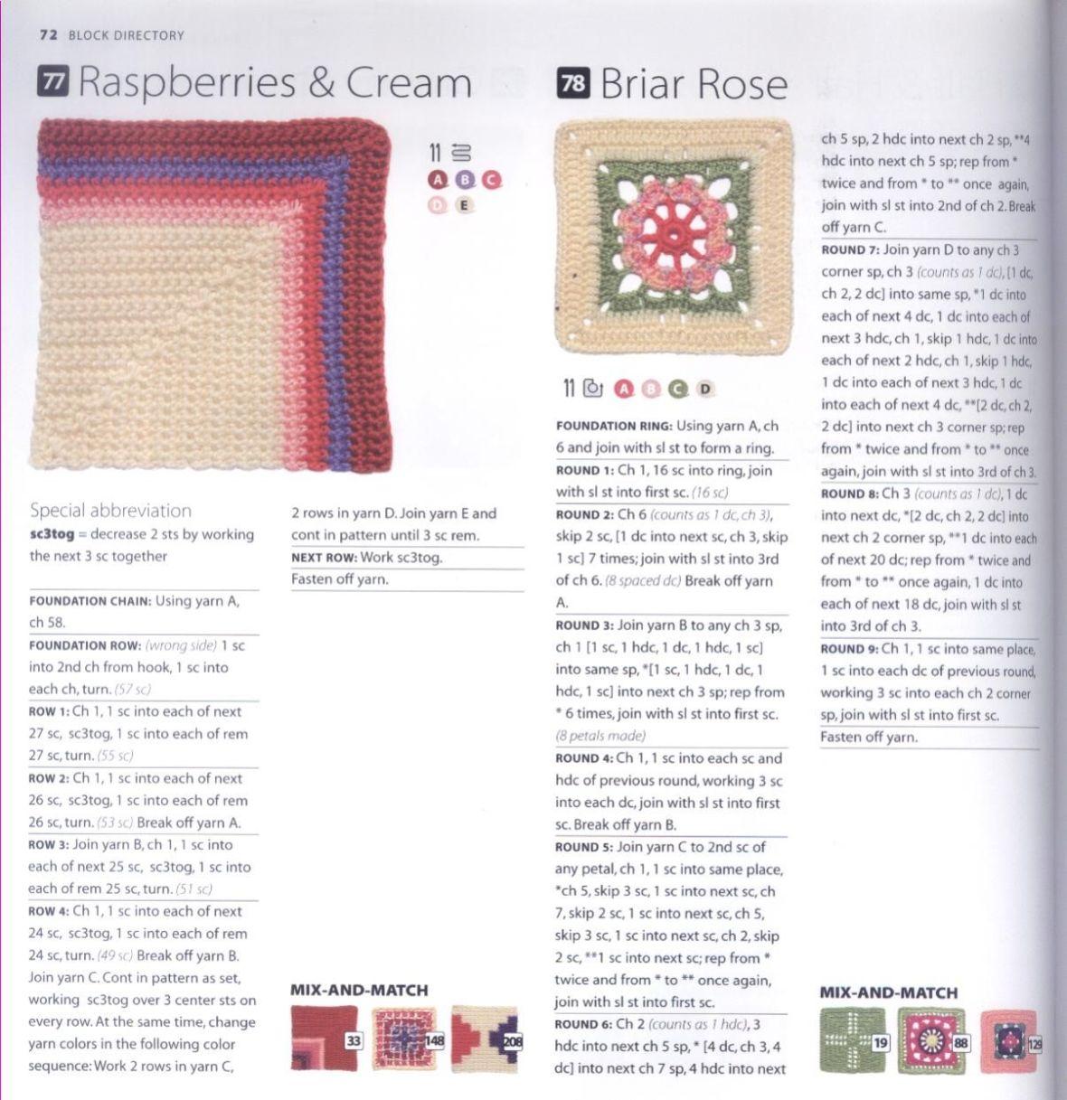 200 Crocheted Blocks for blankets, throws & Afghans 072