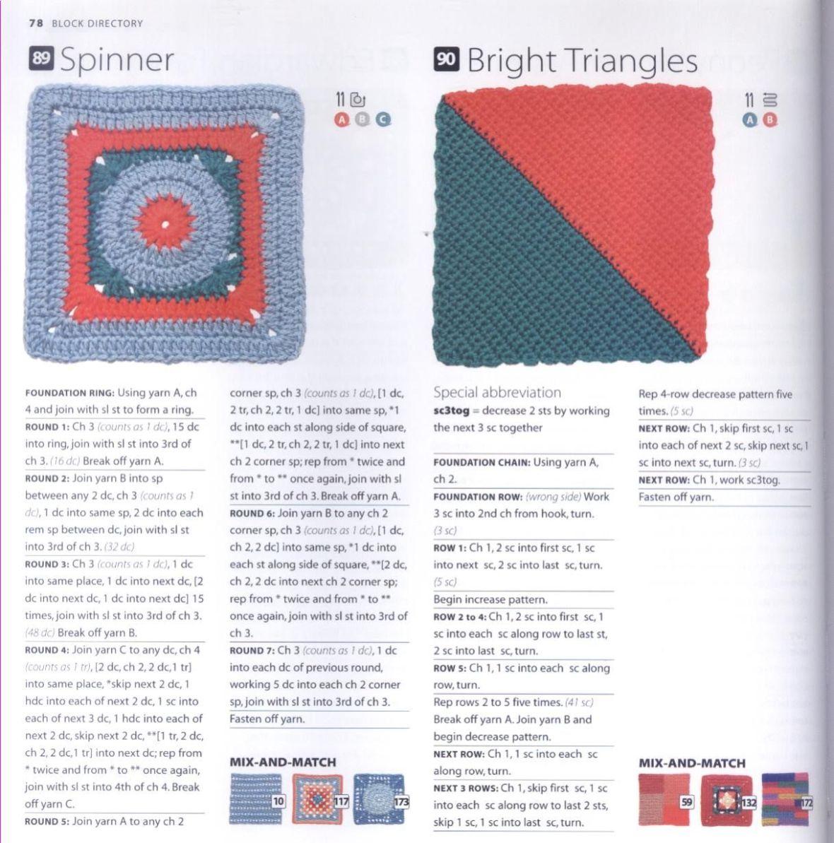 200 Crocheted Blocks for blankets, throws & Afghans 078