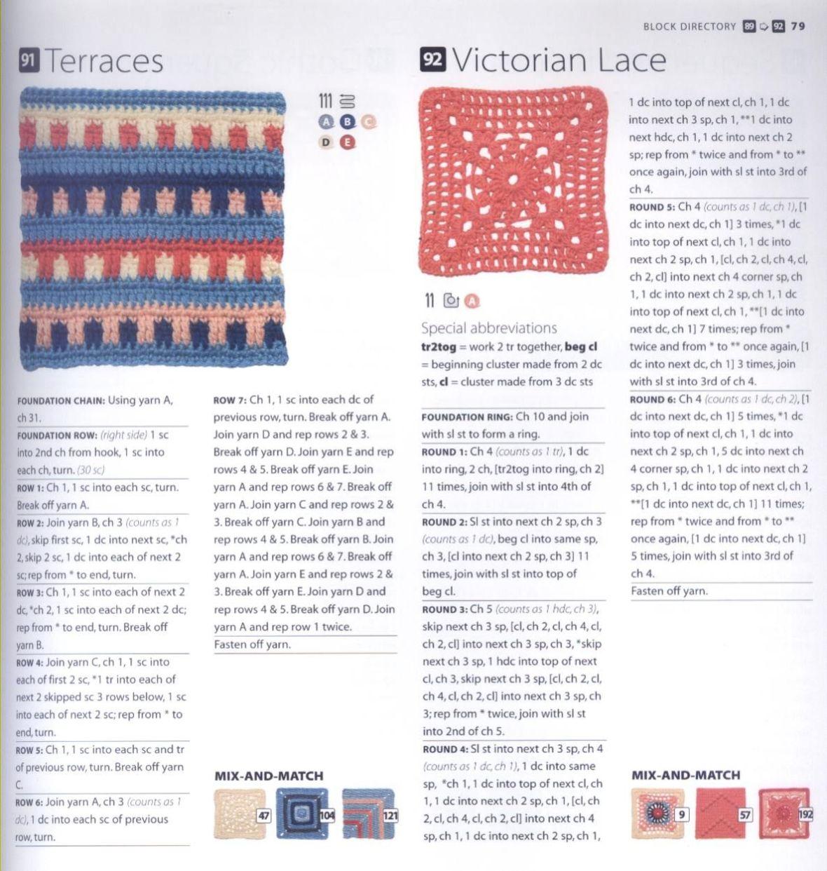200 Crocheted Blocks for blankets, throws & Afghans 079