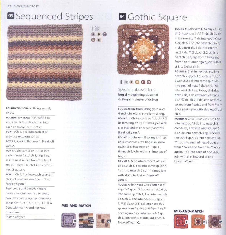 200 Crocheted Blocks for blankets, throws & Afghans 080