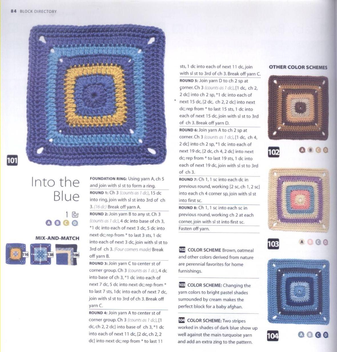 200 Crocheted Blocks for blankets, throws & Afghans 084