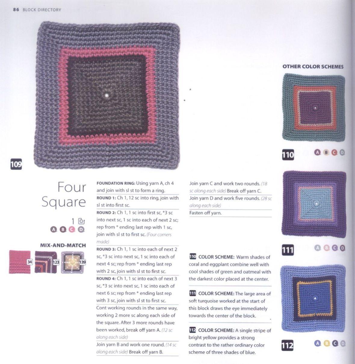 200 Crocheted Blocks for blankets, throws & Afghans 086