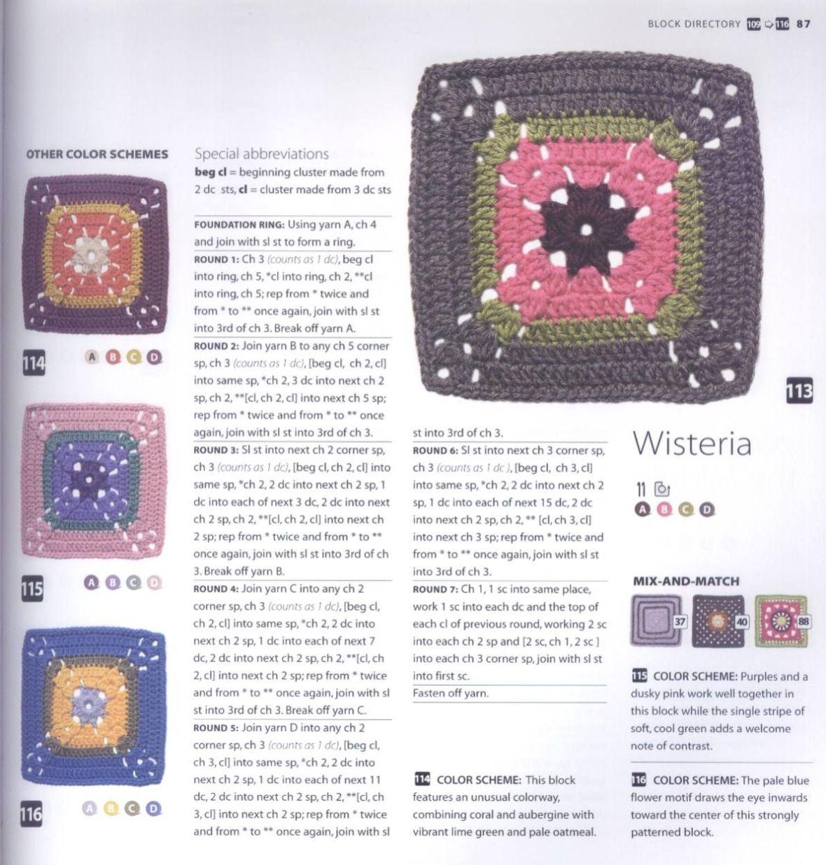 200 Crocheted Blocks for blankets, throws & Afghans 087