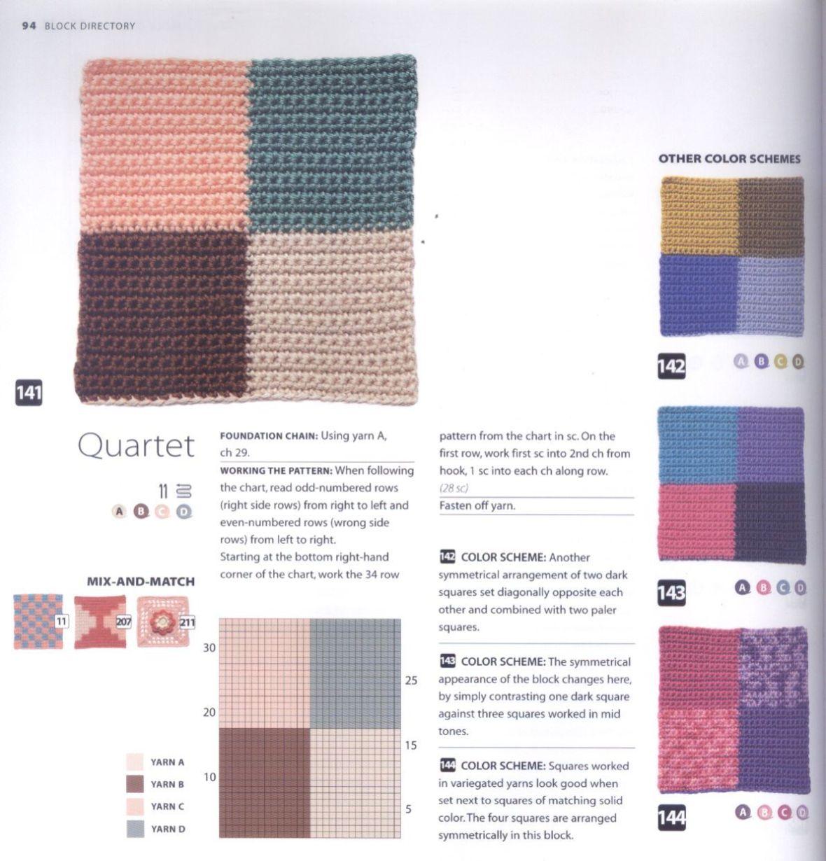 200 Crocheted Blocks for blankets, throws & Afghans 094