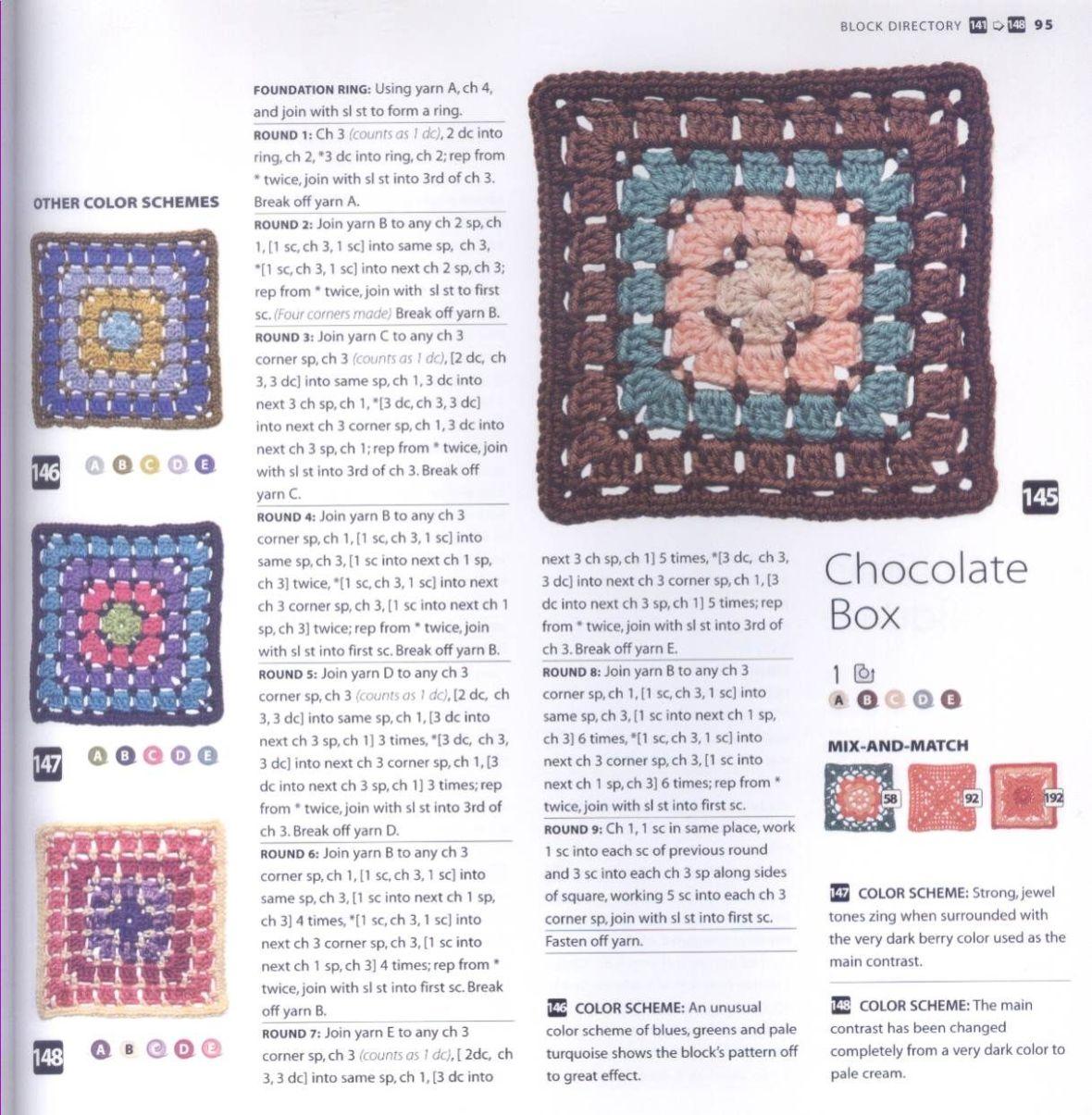 200 Crocheted Blocks for blankets, throws & Afghans 095