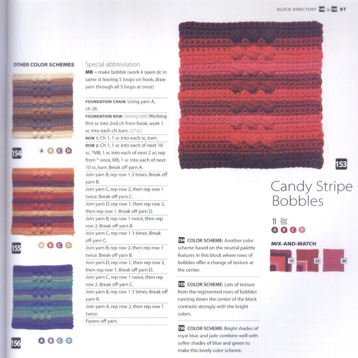 200 Crocheted Blocks for blankets, throws & Afghans 097