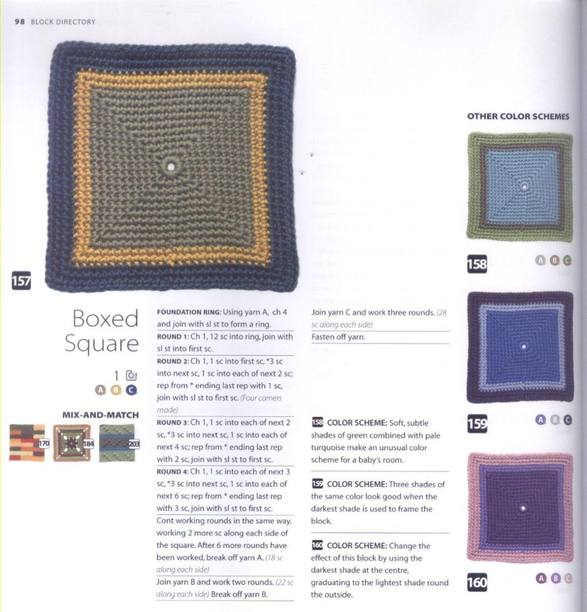 200 Crocheted Blocks for blankets, throws & Afghans 098