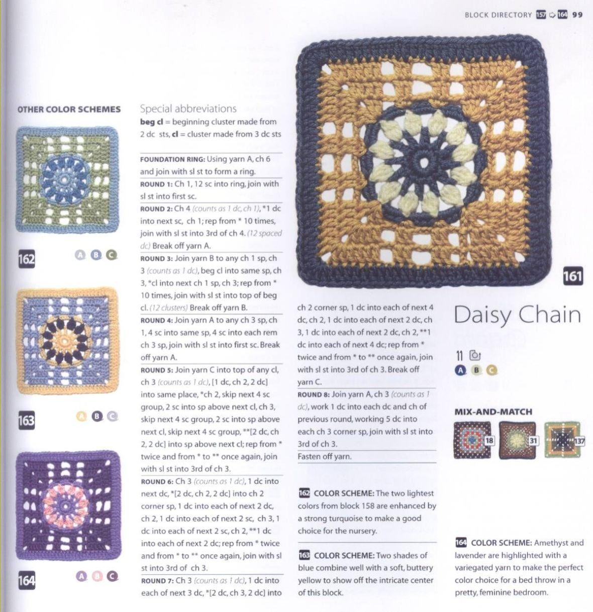 200 Crocheted Blocks for blankets, throws & Afghans 099