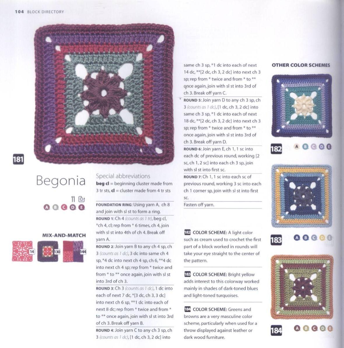 200 Crocheted Blocks for blankets, throws & Afghans 104