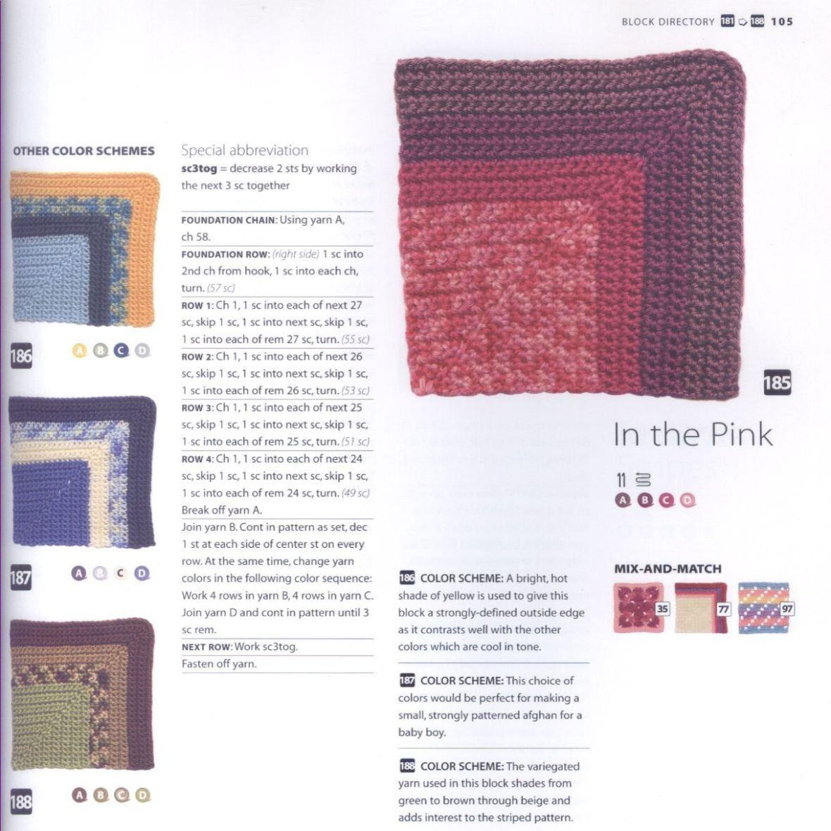 200 Crocheted Blocks for blankets, throws & Afghans 105