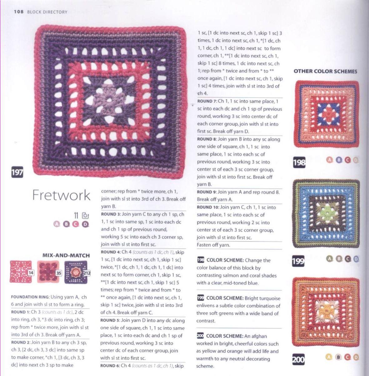 200 Crocheted Blocks for blankets, throws & Afghans 108