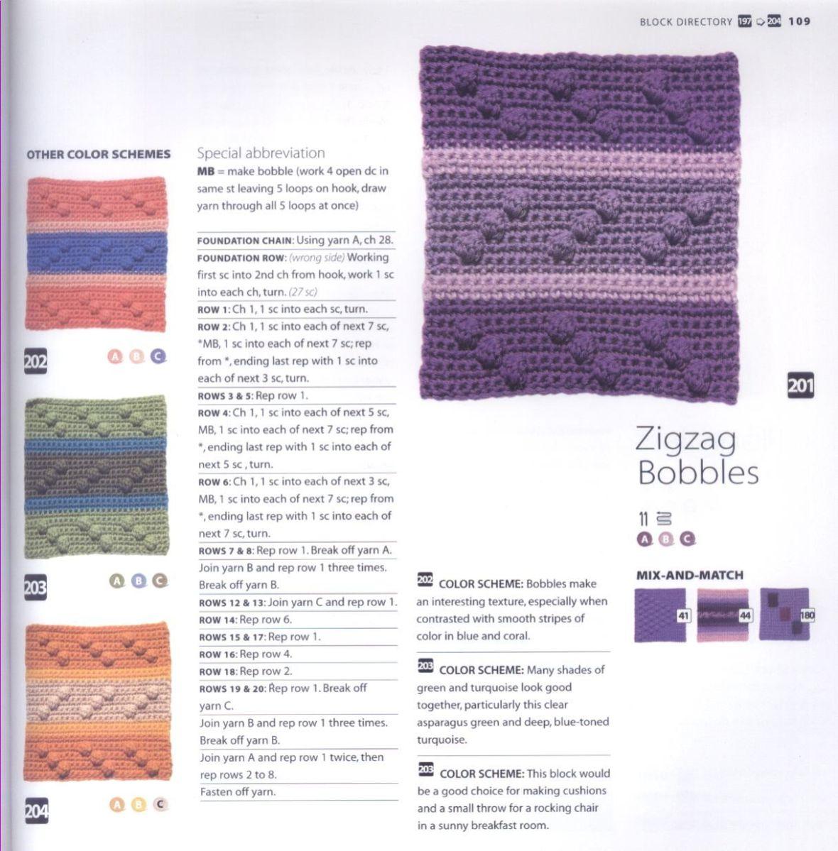 200 Crocheted Blocks for blankets, throws & Afghans 109