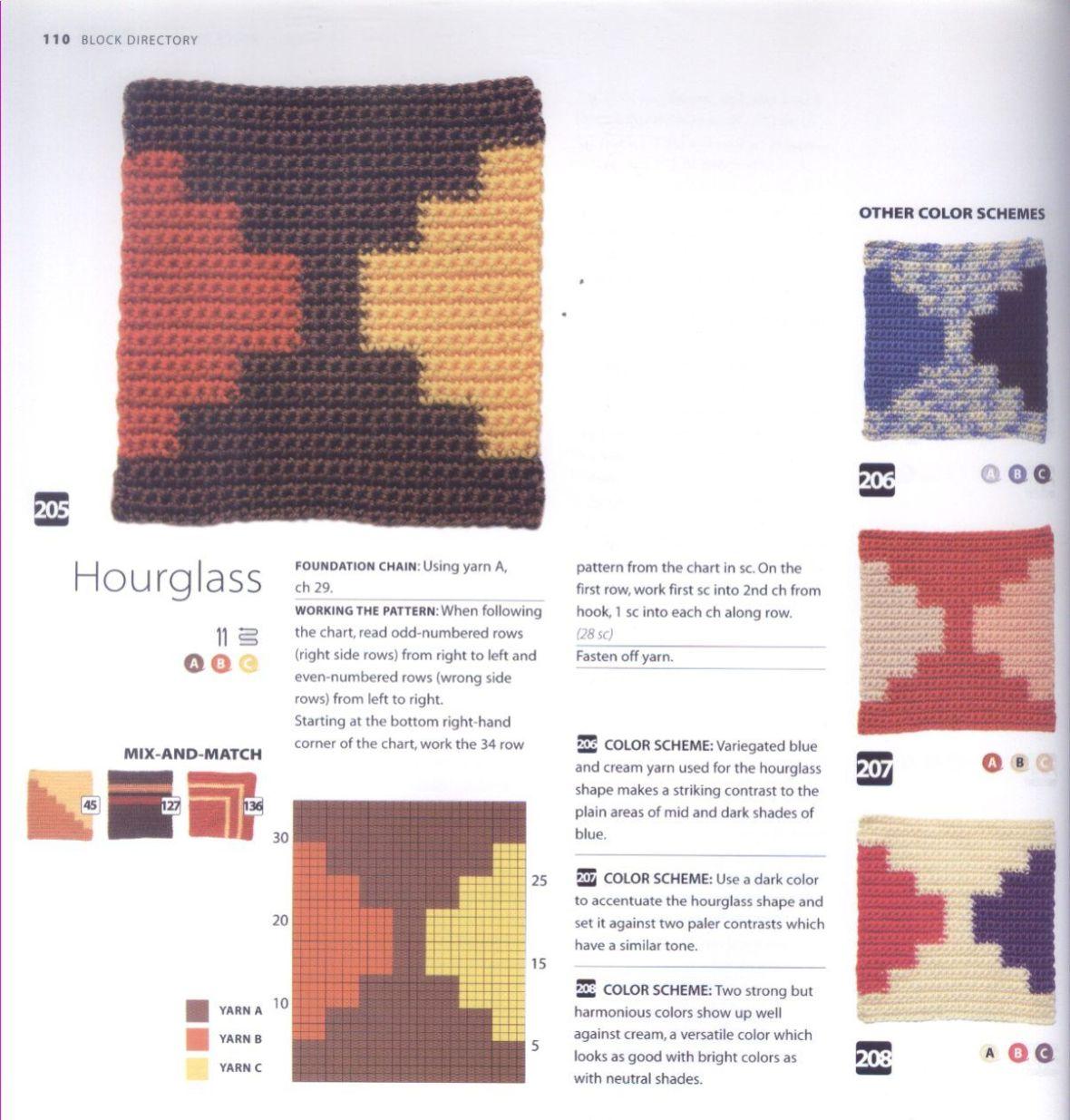 200 Crocheted Blocks for blankets, throws & Afghans 110