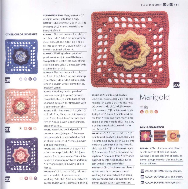 200 Crocheted Blocks for blankets, throws & Afghans 111