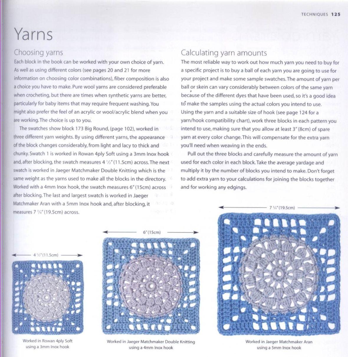 200 Crocheted Blocks for blankets, throws & Afghans 125