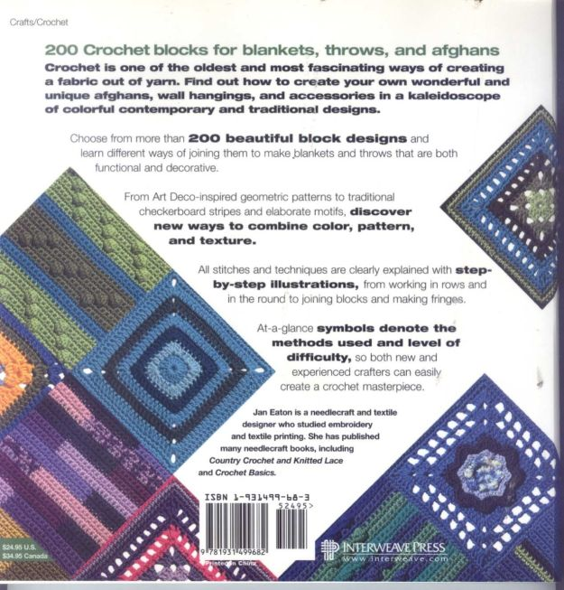 200 Crocheted Blocks for blankets, throws & Afghans 130(L)
